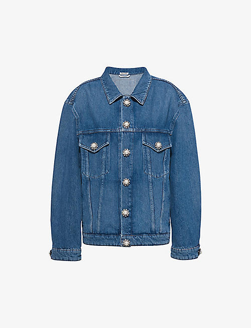 MIU MIU: Embellished oversized denim jacket