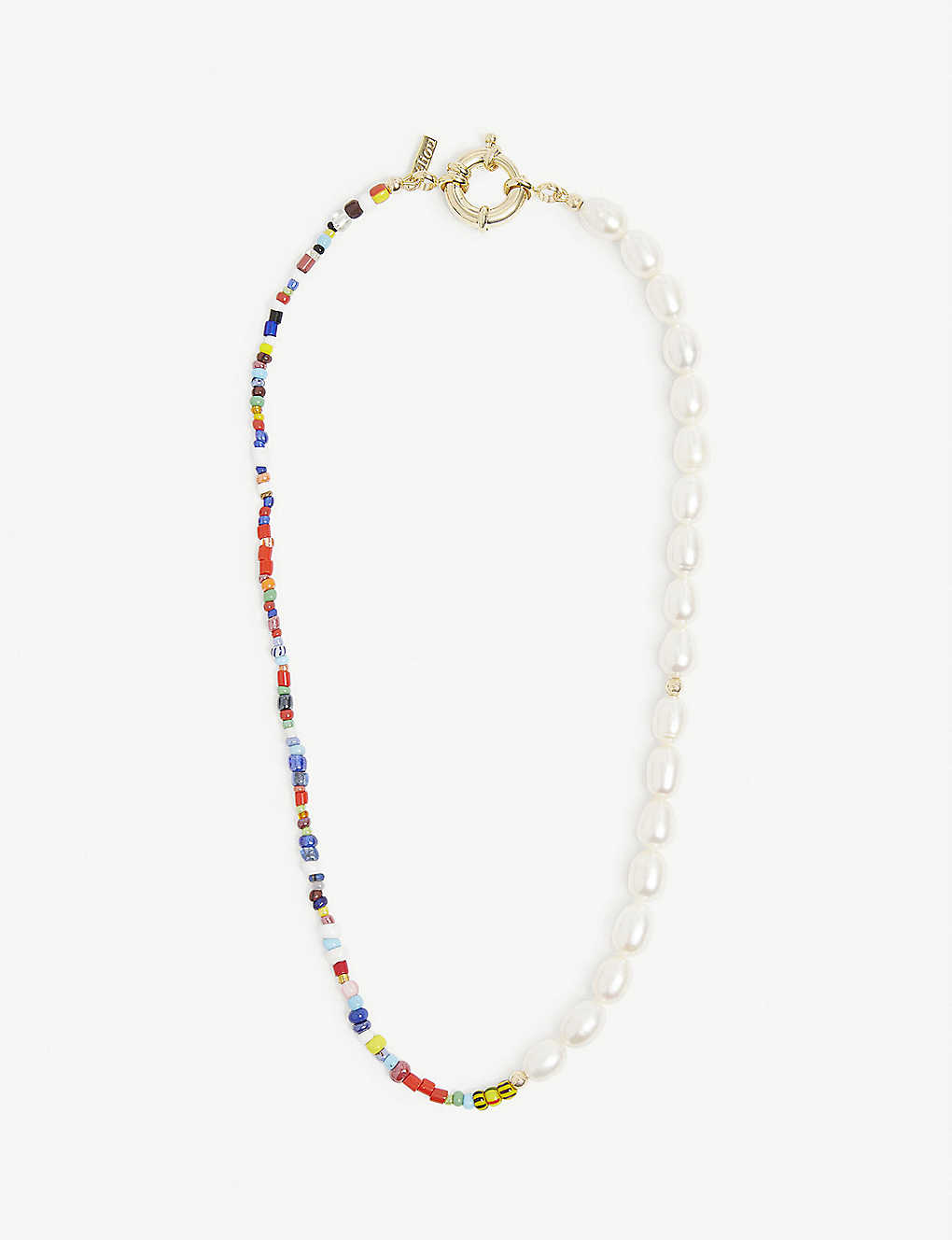 Thasos freshwater-pearl, brass and glass-bead necklace eliou