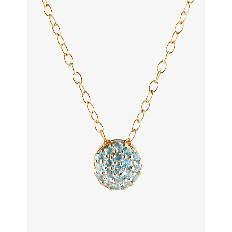 Sandy Leong Dot December birthstone recycled 18ct yellow gold and blue topaz necklace
