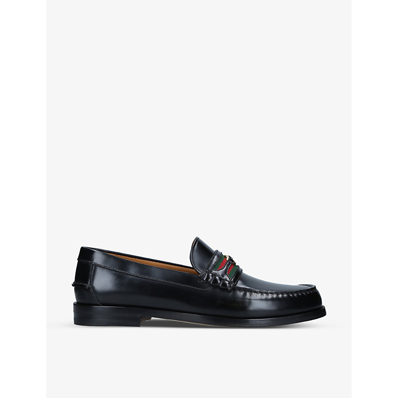Gucci Kaveh Interlocking-g Leather Loafers