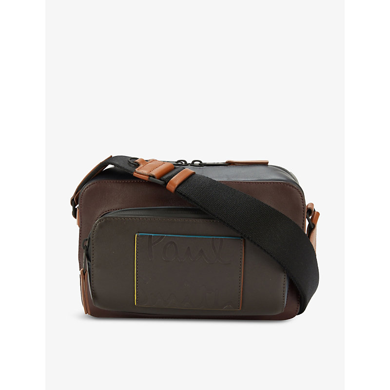 Paul Smith Logo-debossed Leather Cross-body Bag In Brown