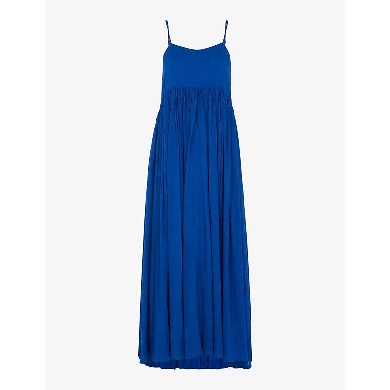 Whistles Womens Blue Carmen Tiered Organic-cotton Midi Dress 16