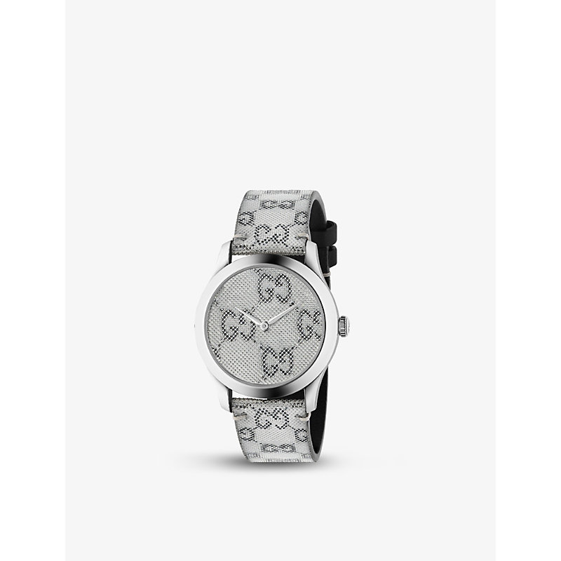 Gucci Ya1264058 G-timeless Stainless-steel And Leather Quartz Watch In Grey