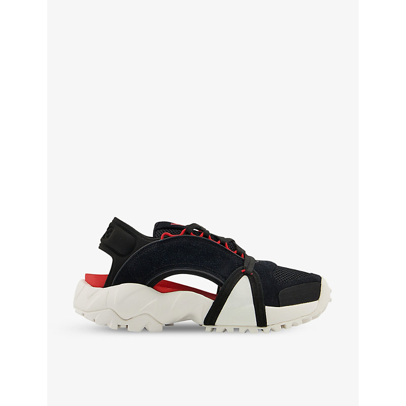 Adidas Y3 Womens Black Chalk Red Notoma Lace-up Suede And Mesh Sandals 4