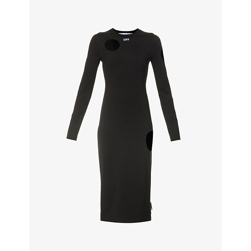 Off-white Womens Black White Meteor Cut-out Stretch-woven Midi Dress 10