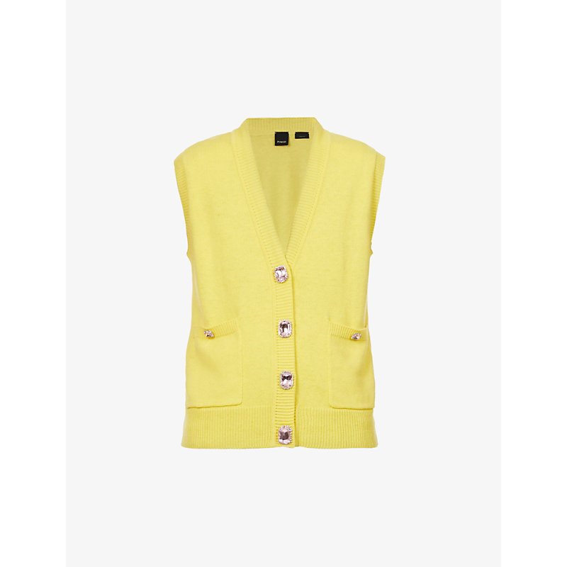 Pinko Womens Yellow Barolo Embellished Cotton And Cashmere-blend Vest S